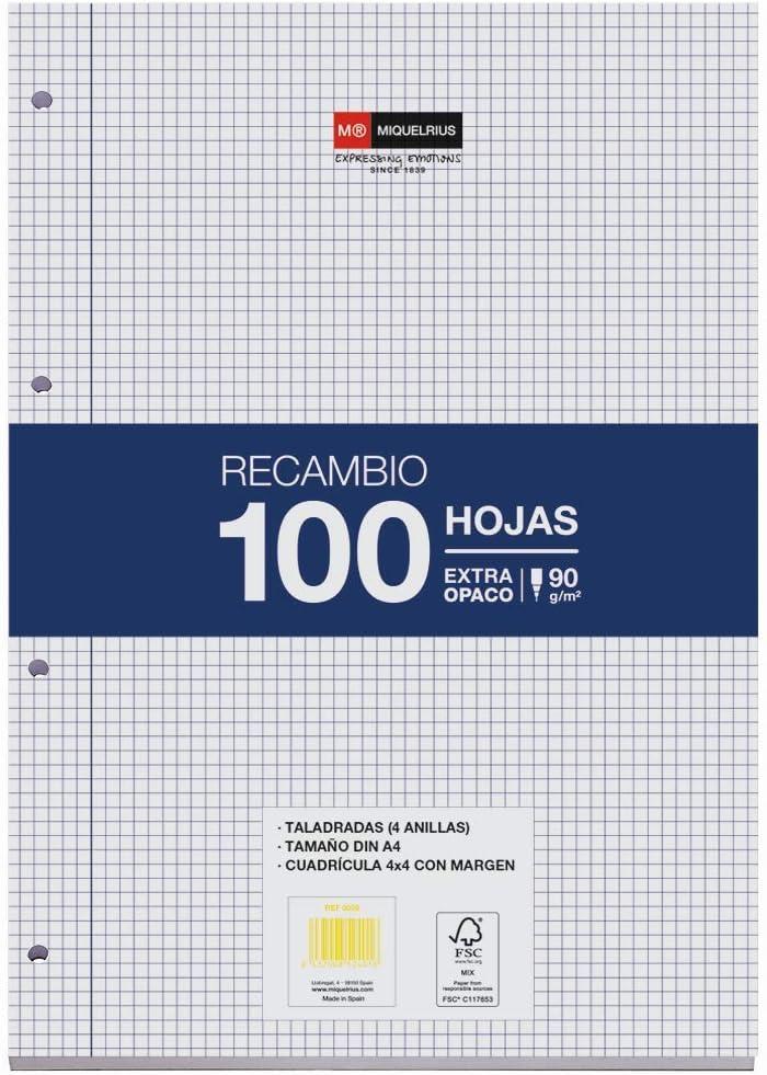 Miquel Rius Recambio 100 Hojas, Cuadrícula de 4 mm y margen. Tamaño A4, 4 Taladros, Papel de 90 gr