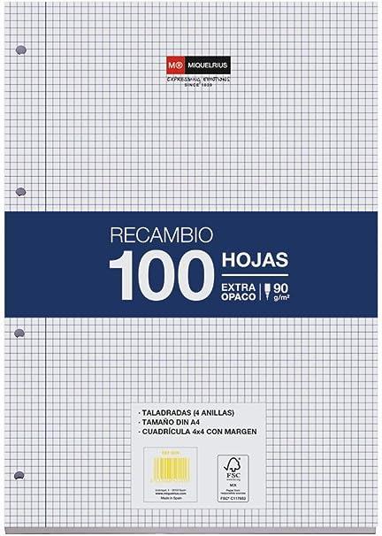 Miquel Rius Recambio 100 Hojas, Cuadrícula de 4 mm y margen. Tamaño A4, 4 Taladros, Papel de 90 gr: Amazon.es: Oficina y papelería