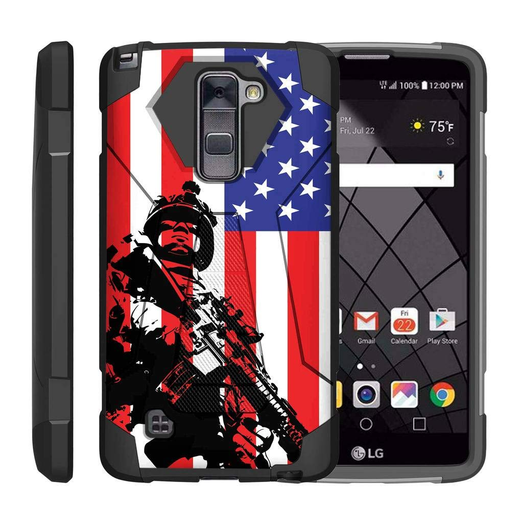 TurtleArmor | Compatible for LG Stylus 2 Case | LG G Stylo 2 Case | Stylo 2 V [Dynamic Shell] Impact Cover Hard Kickstand Hybrid Shock Fitted Silicone Military War Robot Android - American Soldier