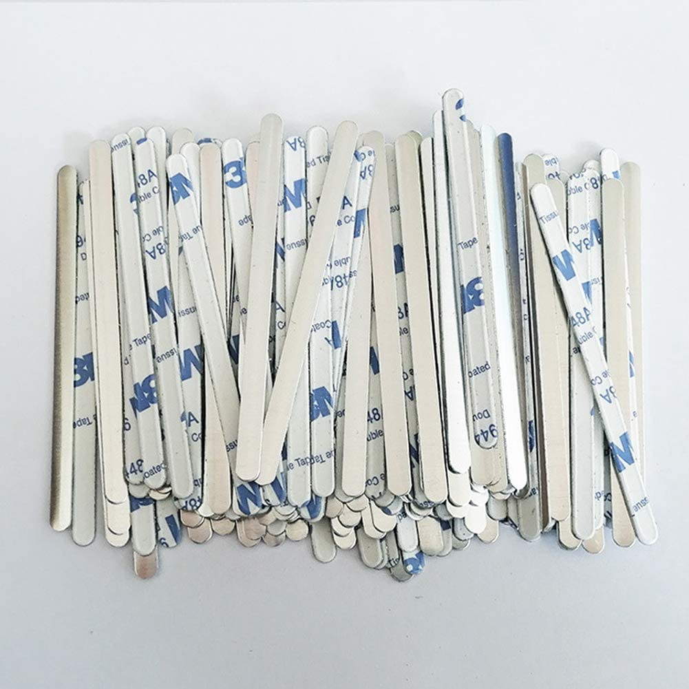 Craftdady 50pcs Aluminum Nose Wire Strips 5mm Nose Adjuster Bridge Clips Bracket for Face Cover Sewing Earloop Crafts Making