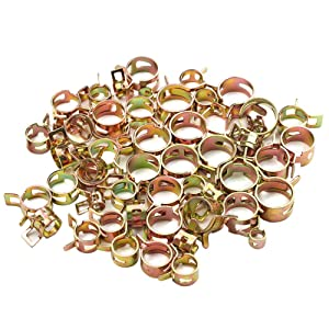 BestTong 120PCS Spring Band Type Action Elastic Fuel Silicone Vacuum Hose Pipe Clamp Low Pressure Air Clip Clamp (7mm 10mm 11mm 14mm 16mm 17mm)