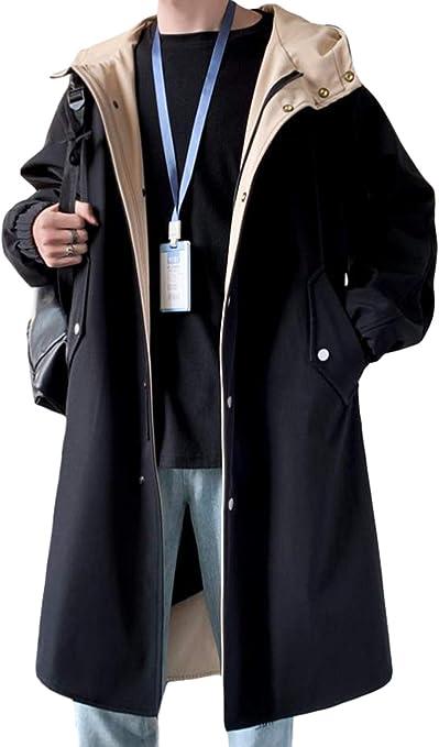 [ShuMing]ロングコート メンズ トレンチコート ジャケット カジュアル フード付き 防風 コート 春 スプリングコート 大きいサイズ ブルゾン ジャンパー おしゃれ 春服 アウター