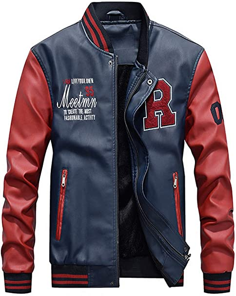 ROBO Mens Baseball Varsity Jacket PU Leather Waterproof Casual Flight Bomber Coat