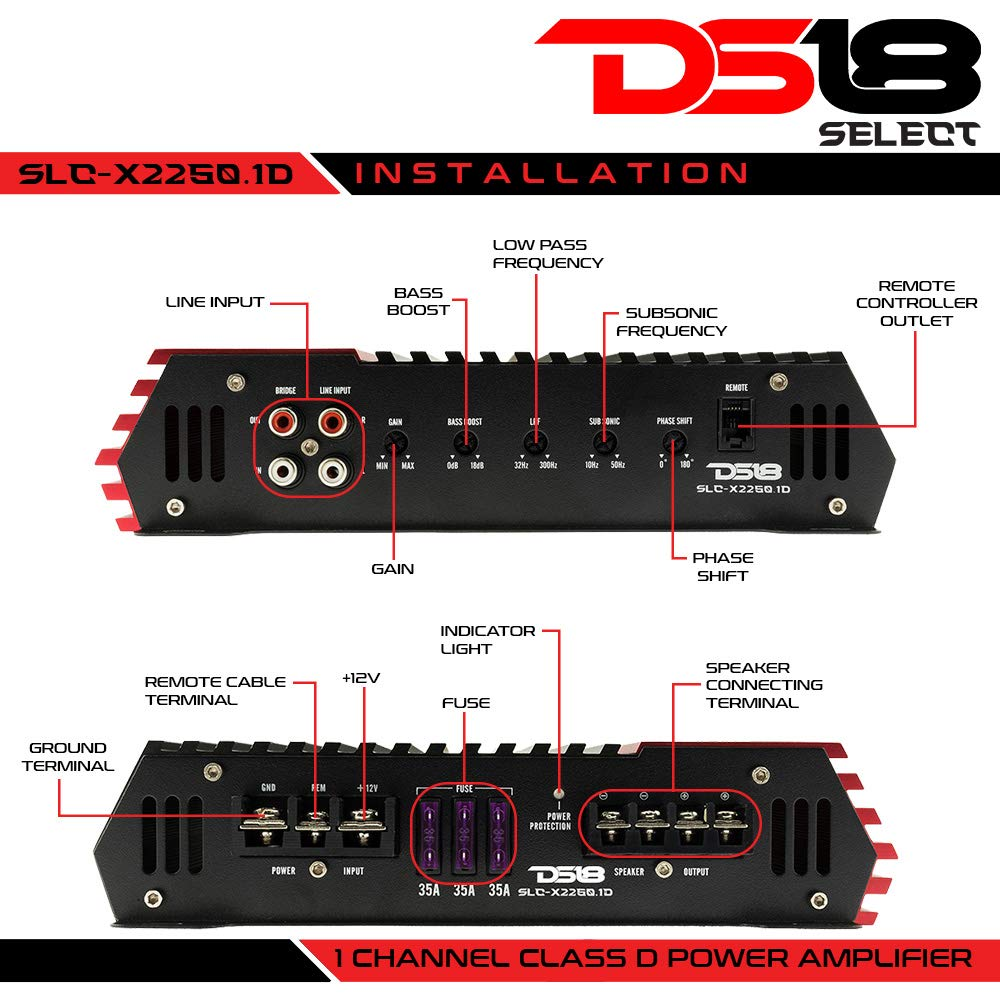 DS18 SLC-X1850.4 4 Channel Class Ab Amplifier 1850 Watts Max Power