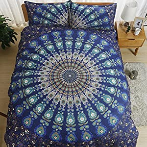 AILOVYO Bohemia Mandala Bedding Duvet Cover Set with Zipper - 2 Piece (1 Duvet Cover + 1 Pillow Sham) Cotton Comforter Cover Set - Twin