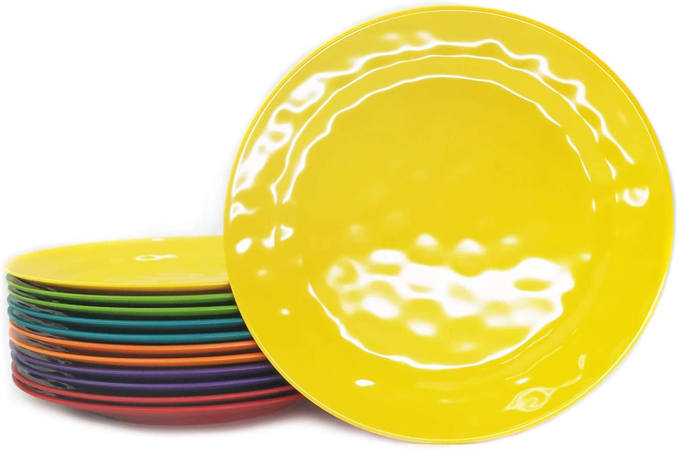 Melamine Plates set -10inch 12pcs 100% Melamine Dinner Plates for Everyday Use, Break-resistant and Lightweight, MultiColor