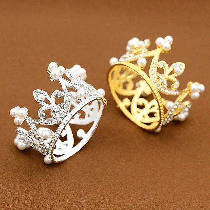Amazon.com: QJXSAN Headwear Regalo de la Corona de la Torta Redonda para hornear accesorios de decoración de la boda Perla de aleación de cumpleaños ...
