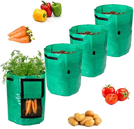 10 Gallon Garden Potato Grow Bags Vegetable Plant Tub with Flap and Handles 4 pc