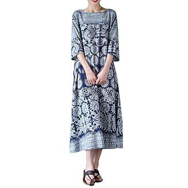 80b3a76b647 Womens Elegant Kaftan Plus Size Floral Print Crewneck Casual Loose Long  Maxi Dress  Amazon.co.uk  Clothing
