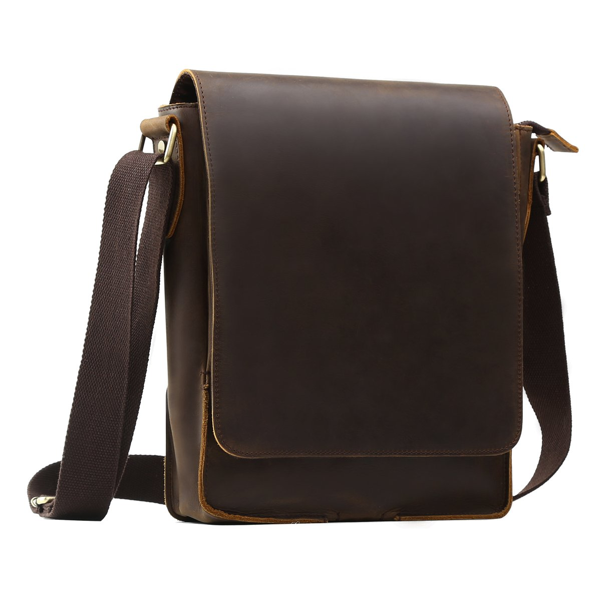Mens Distressed Real Leather Cross Body Shoulder Travel Messenger Bag For Kindle iPad Tablet Flap over Vintage SatchelRucksack Convertible Office Notebook Holiday Utility Bag Ideal Organiser Pouch