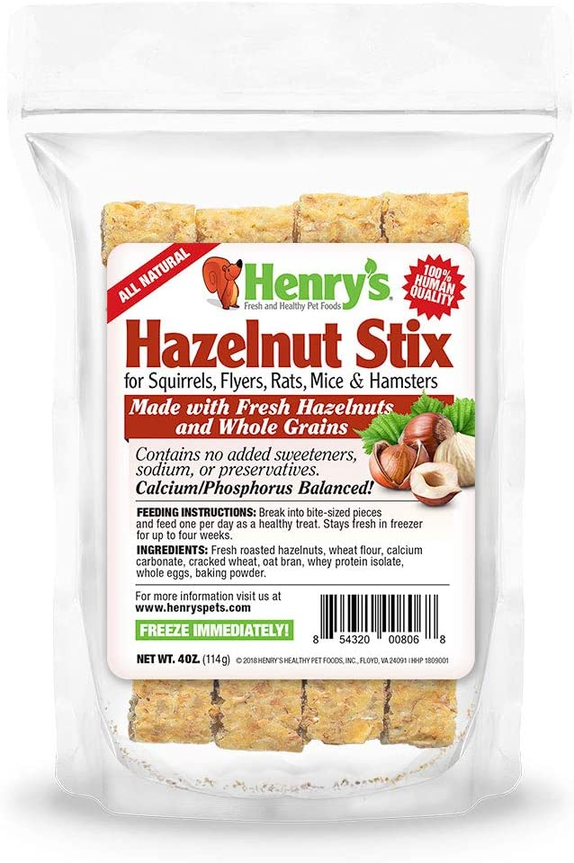 Henry's Hazelnut Stix - The Only Squirrel and Hamster Treat Baked Fresh to Order, 4 Ounces