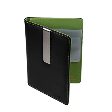 PW1016 verde llanura de cuero Cubierta del pasaporte de acero inoxidable dinero Clip con 10 tarjetas