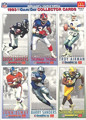 DEION SANDERS. THURMAN THOMAS, TROY AIKMAN, JOHN ELWAY, BARRY SANDERS & STERLING SHARPE GAMEDAY COLLECTOR'S CARDS - 1993 FLEER MCDONALD'S LIMITED EDITION GAMEDAY COLLECTOR'S CARDS SHEET A / 1 OF 3 ( ATLANTA FALCONS, BUFFALO BILLS, DALLAS COWBOYS, DENVER BRONCOS, DETROIT LIONS & GREEN BAY PACKERS) UNCUT SHEET AND FREE SHIPPING
