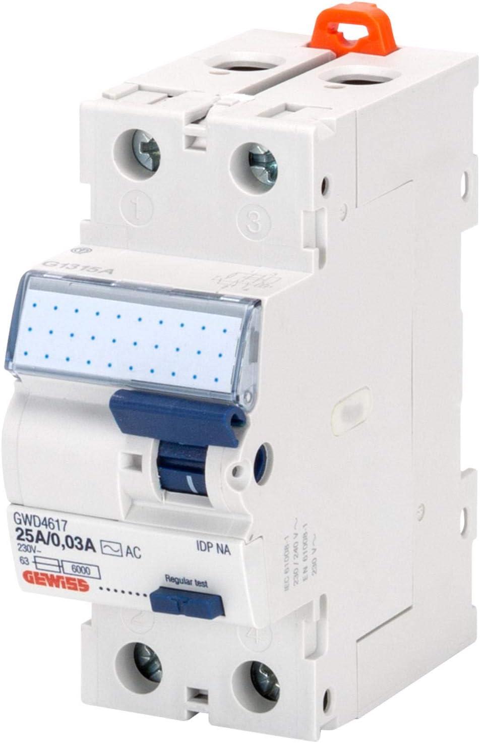 Idp Na 2P 25A Tipo AC Istantaneo Idn=0,03A 230V Gewiss Interruttore Differenziale Puro 2 Moduli