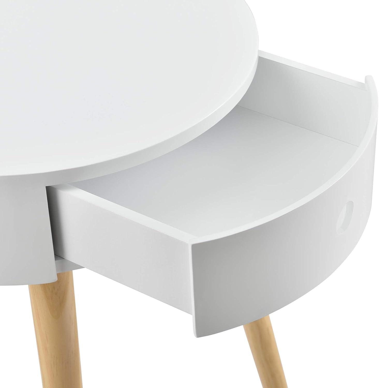 en.casa Comodino con Cassetto 50 x 38 x 38 cm Tavolino Rotondo Bianco Rustico
