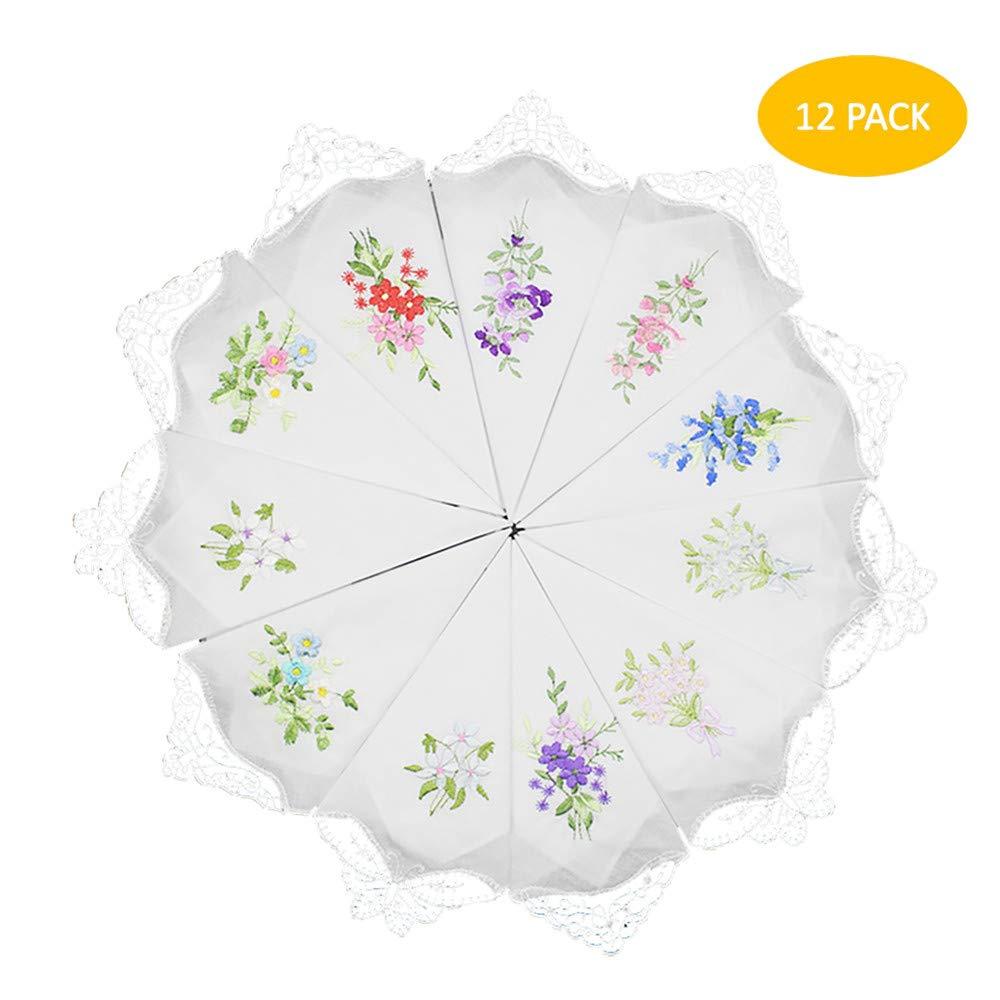 Fazzoletti di pizzo floreale vintage ricamati da donna per festa di matrimonio (12 pezzi) syy-012