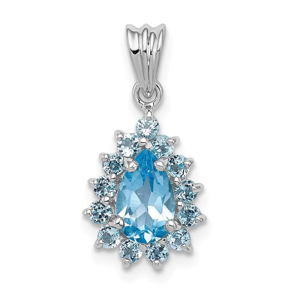925 Sterling Silver Rhodium Plated Light Swiss Blue Topaz Cross Polished Pendant