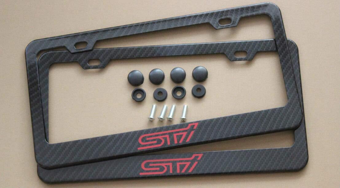 Armertek STI Carbon Fiber-Look License Plate Frame Cover Stainless Steel Black for Subaru 2