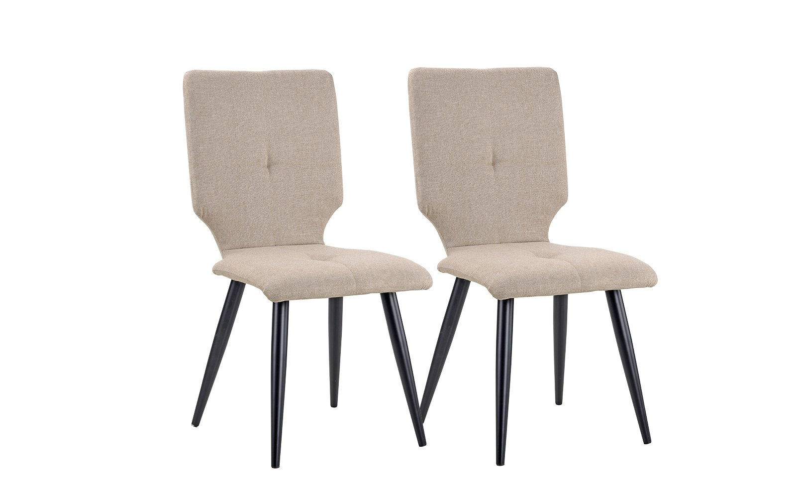 2 Pice Set of Linen Fabric Upholstered Kitchen Dining Chairs (Beige)