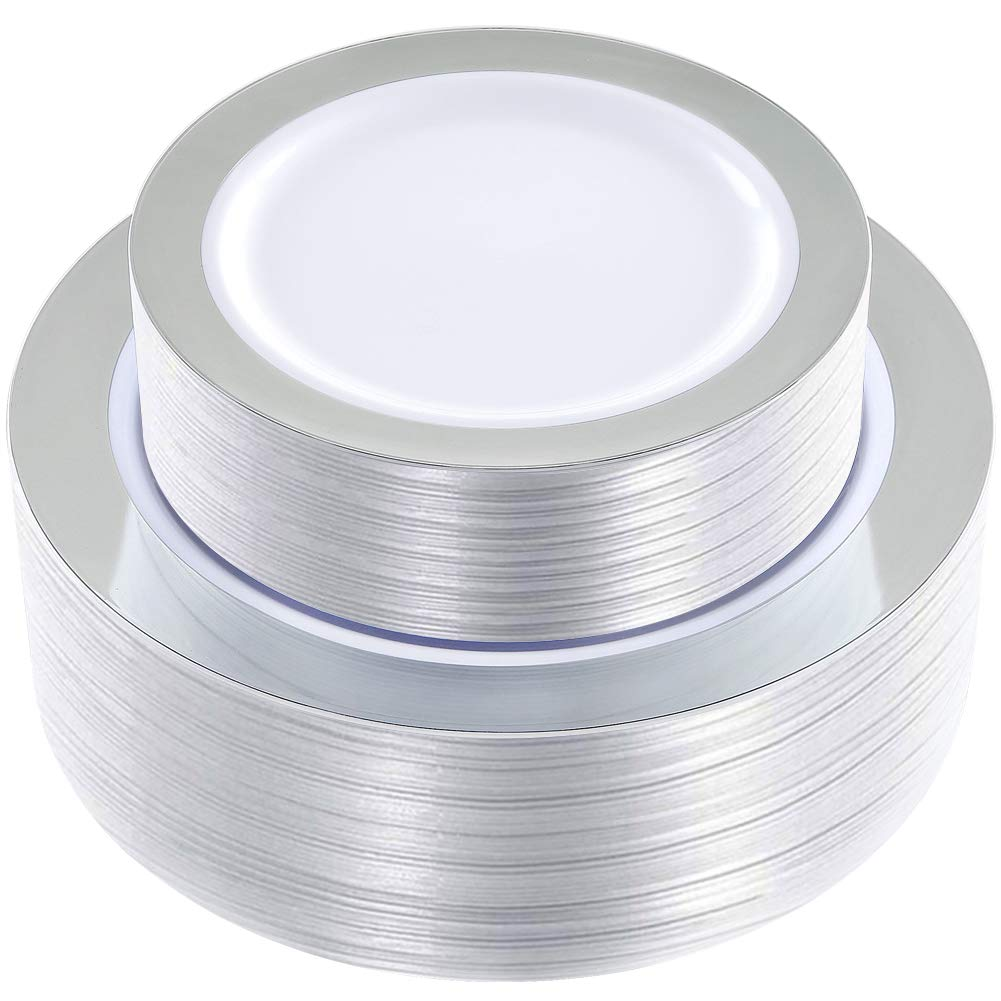 WDF 102 pieces Silver Plastic Plates -Disposable Plastic Plates with Silver Rim -Wedding Party Plates include 51-10.25'' Dinner Plates and 51-7.5'' Salad Plates