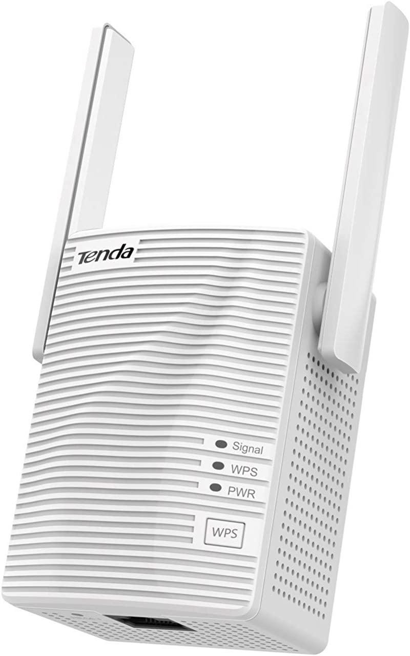 Tenda AC1200 WiFi Range Extender Gigabit WiFi Repeater with 100 Mbps LAN Port, Dual Banda 2.4GHz 300Mbps+5GHz 867Mbps, Hide SSID, WPS Function, Encryption Mode (A18), White