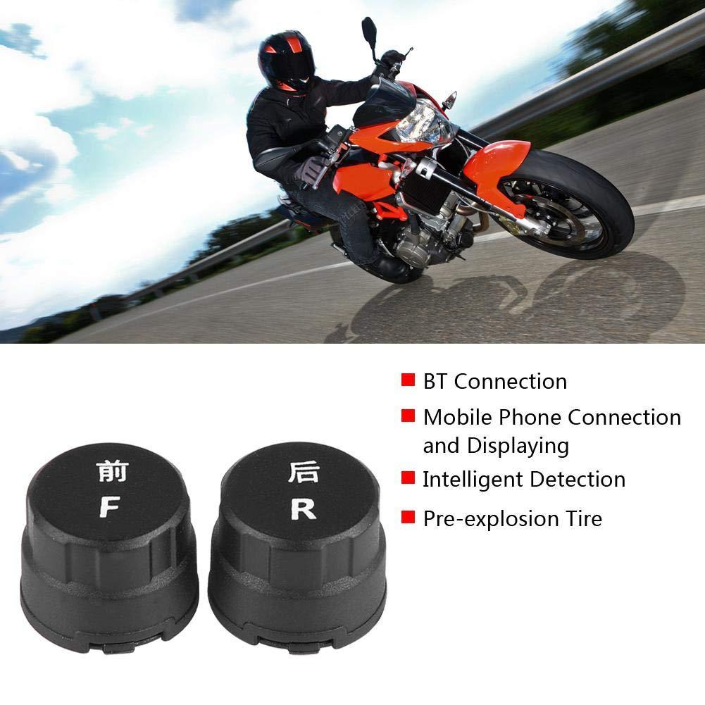 Qiilu 3V Motorcycle TPMS BT Sistema di monitoraggio della Pressione dei Pneumatici BT Impermeabile per iOS//Android W//sensore per pn