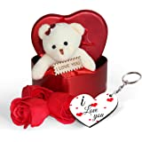 Sky Trends Teddy Bear with Valentine'S Special Greeting Card (Red, St-0015)