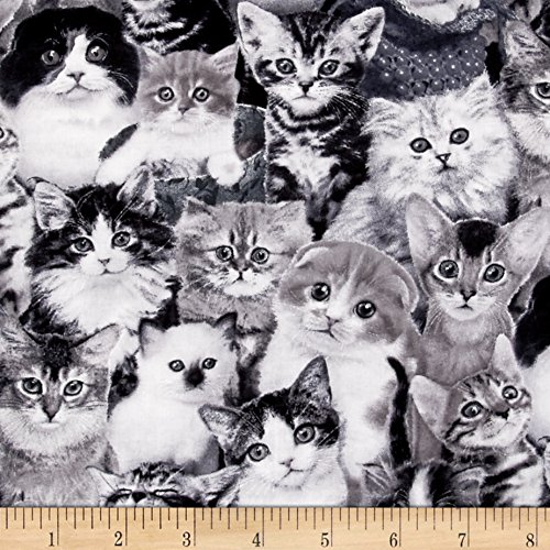 Elizabeth's Studio Cat Breeds Packed Cats Fabric by The Yard, Gray Elizabeth's Studio 0386831