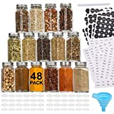 Aozita 48 Pcs Glass Spice Jars/Bottles - 4oz Empty Square Spice Containers with 810 Spice Labels - Shaker Lids and Airtight M