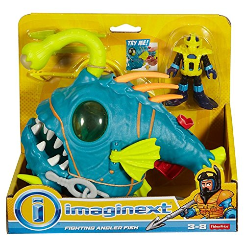 Imaginext Fisher Price Ocean Fighting Angler Fish with Diver Figure