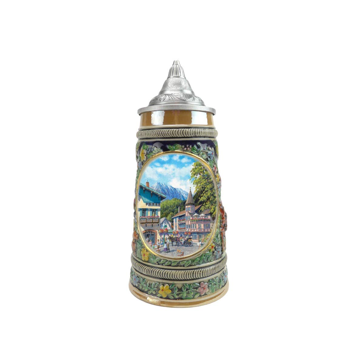 ''Summer In Germany'' Essence of Europe Gifts E.H.G. Collectible Ceramic Beer Stein with metal lid (#1 in Collection of Four Steins)