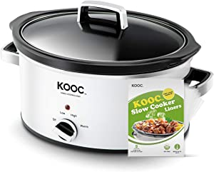 [NEW LAUNCH] KOOC Slow Cooker, 5-Quart, Larger than 4 Quart, Free Liners Included for Easy Clean-up, Upgraded Crock Pot, Adjustable Temp, Nutrient Loss Reduction, White, Oval