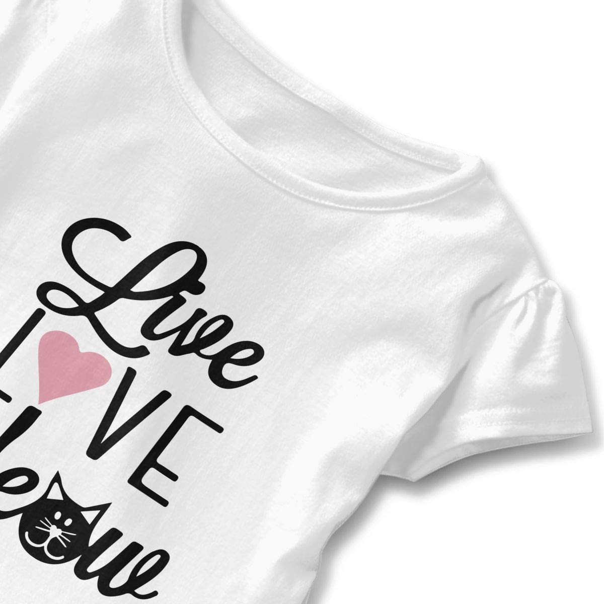 Little Girls Live Love Meow Cat Funny Short Sleeve Cotton T Shirts Basic Tops Tee Clothes