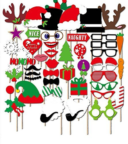 [Tresbro Photo Booth Props Christmas DIY Prop for Wedding Party Birthdays Photobooth Dress-up Accessories & Party Favors, Costumes with Mustache on a stick, Hats, Glasses, Mouth, Bowler,] (Vintage Halloween Costumes From The 80s)