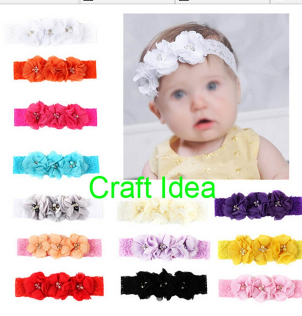 YYCRAFT Pack Of 20 Pieces Chiffon 2 Flower Rhinestone Pearl for craft projects-10 colors