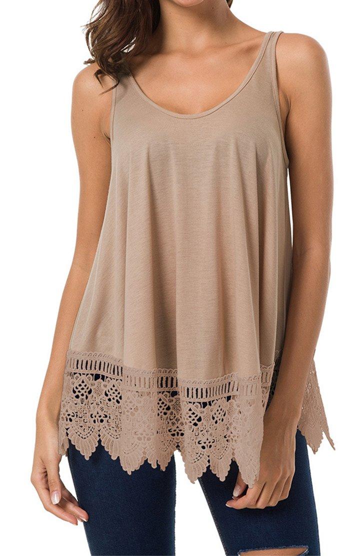 Spmor Women's Summer Tops Round-Neck Sleeveless T-Shirts Khaki XL