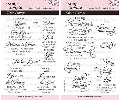 Stamp Simply Clear Stamps Group of 2 Sets Easter Scripture Christian Religious 4x6