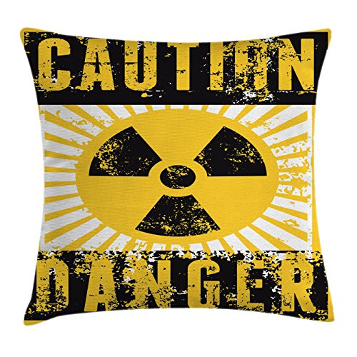 Ambesonne Vintage Decor Throw Pillow Cushion Cover by, Sign with Caution and Danger Icon Atomic Nuclear Area Beware Toxic Artwork, Decorative Square Accent Pillow Case, 18 X 18 Inches, Yellow Black