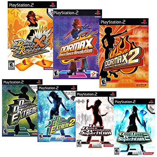 (Dance Dance Revolution Game and Song Bundle for Sony Playstation 2, 7 Game DDR PS2 Set with Over 500 Songs in DDR Extreme, DDR Extreme 2, DDR Supernova, DDR Supernova 2, DDR Max, DDR Max 2, and DDR X)