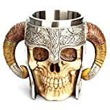 Green Convenience Stainless Steel 3D Skull Cup, Stainless Steel Skull Coffee Mug for Beverage,Coffee,Beer,Blood Juice, Medieval Viking Warrior Skull Armor Drinkware Mug, Party Trick Cup,Christmas gifts ,Christmas gift