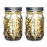 iThird Mason Jar Lights Waterproof, Solar String Lights Outdoor Warm White 2 Pack 20 LED for Christmas Thanksgiving Day Party Wedding Deck Decorative Lighting(Jars Included)