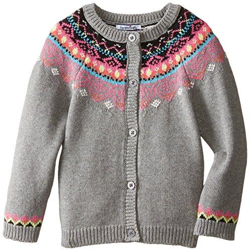 Hartstrings Little Girls' Toddler Fair Isle Cotton Cardigan Sweater, Light Grey Heather, 2T (Hartstrings Cotton Cardigan)