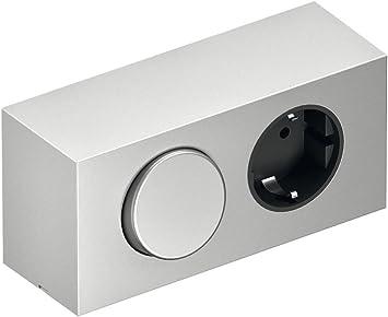 Enchufes Elemento de energía caja armario con espejo con enchufe Schuko y sistema de cultivo Interruptor | 230 V | plástico plateado | Muebles herrajes de gedotec®: Amazon.es: Bricolaje y herramientas