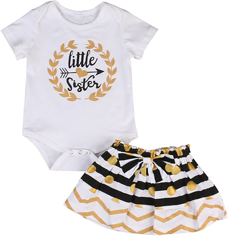 YDuoDuo 0-7T Big Sister Little Sister Matching Outfits Sets Newborn Toddler Baby Little Girls Skirts Clothes Set