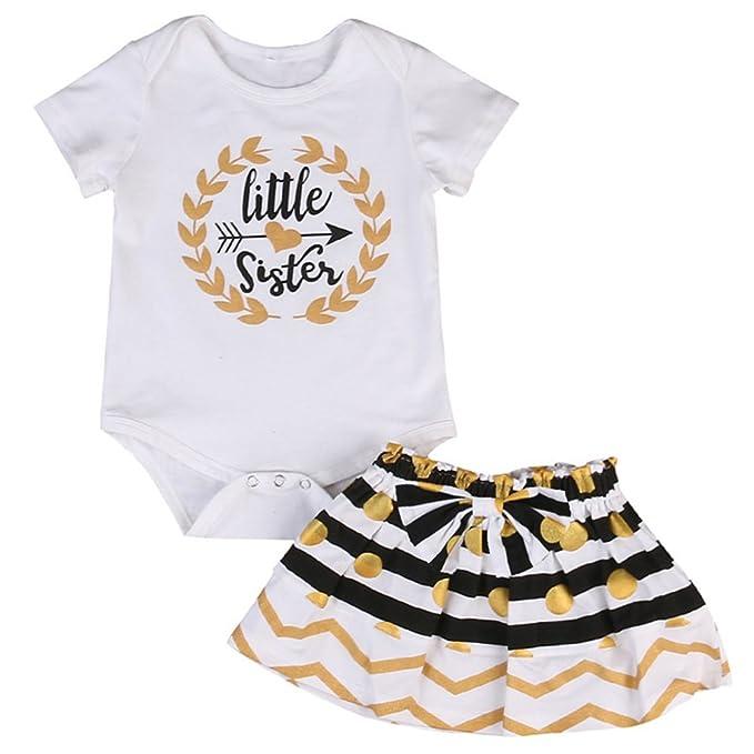 2f801166d KIDSA 0-24M Newborn Toddler Baby Girl Little Sister Outfits Short Sleeve  Bodysuit Romper Stripe