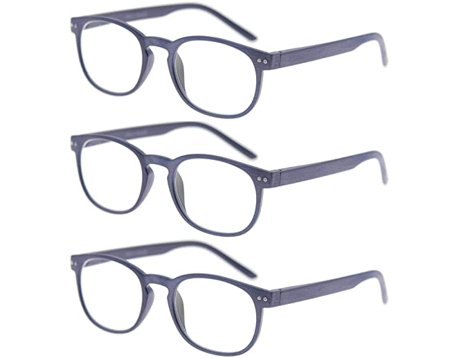 ed82c5f275f MODFANS Reading Glasses 3 Pack Wood Look Round Vintage Spring Hinge for Men  and Women Readers