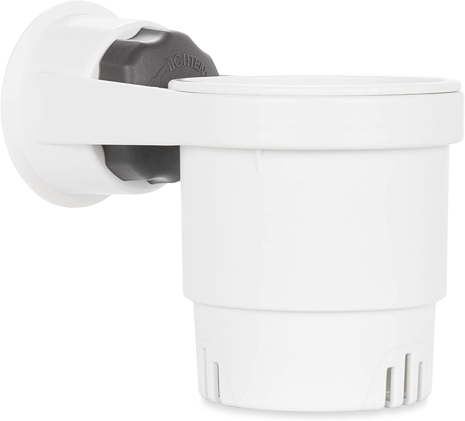Camco Cup Holder with Mechanical Suction Cup - Provides a Secure Location for Your Beverage - Compatible with Most Cups, Cans, Bottles and Tumblers - White (53084)