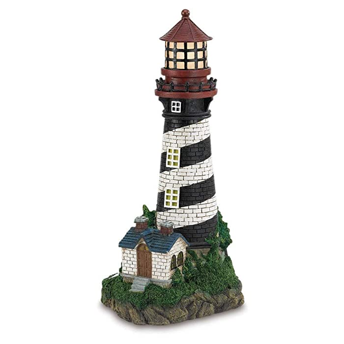 Gifts & Decor Solar Powered Outdoor Garden Lighthouse