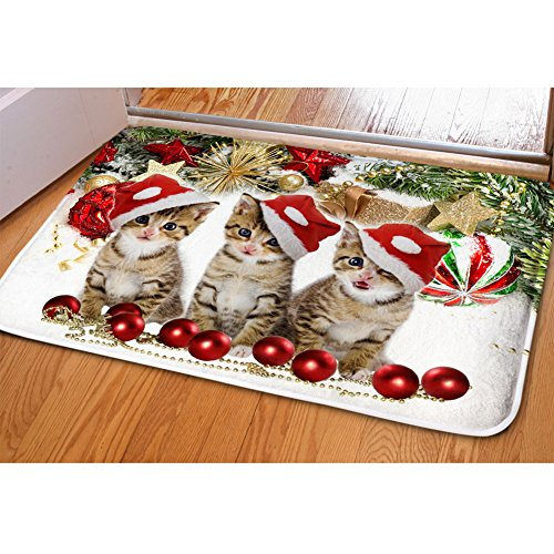 Hugs Idea Lovely Kitten Soft Flannel Entry Way Rug Indoor