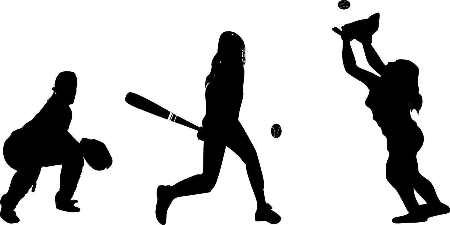 Baseball softball Players Silhouette Vinyl Wall Decal Sports Home Décor